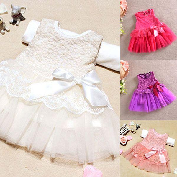 Bayi perempuan One Piece pakaian resmi, Renda bunga busur gaun pesta ikatan simpul, Usia 0-3thn X16