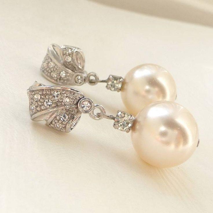 Rhinestone And Pearl Earrings