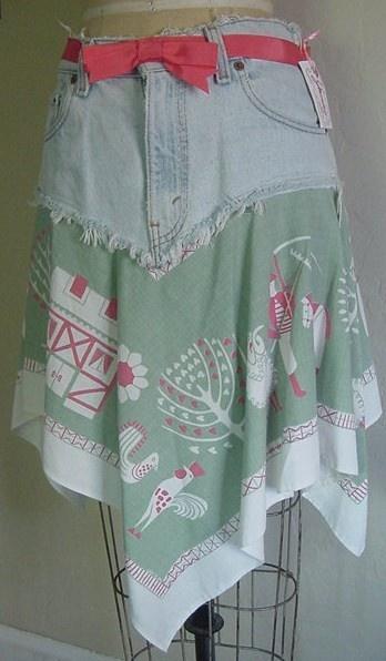 Recycled Denim Vintage 1950s Primative Tablecloth Skirt S-M. $25.00, via Etsy.