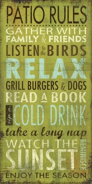 Earth de Fleur Homewares - Word Print Inspirational Sign Patio Rules