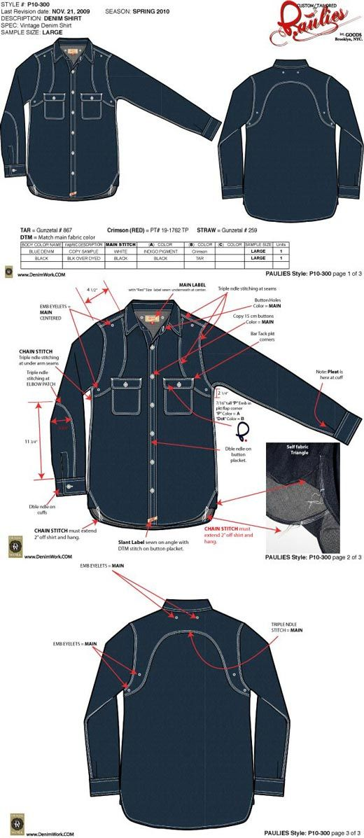 Pauiles denim shirt tech pack created by denimwork
