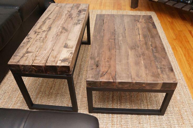 Table acier et bois franc Du bois recyclé 4×4  Je bricole à temps perdu  Pi