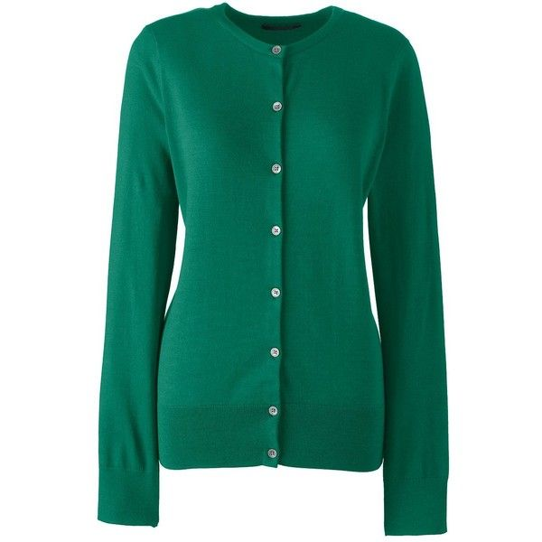 Lands' End Women's Plus Size Supima Cotton Cardigan Sweater ($59) ❤ liked on Polyvore featuring plus size women's fashion, plus size clothing, plus size tops, plus size cardigans, green, green plus size tops, lands end cardigan, cardigan top, blue top and womens plus tops