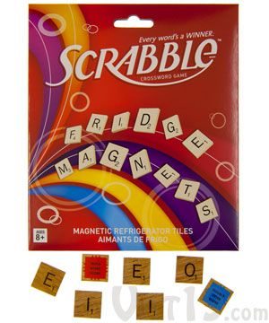 SCRABBLE® Magnetic Refrigerator Tiles  Set of over 100 SCRABBLE® magnetic tiles.Containing the exact same letter distribution as the board game, the officially-licensed SCRABBLE® Magnetic Refrigerator Tile pack includes 100 letter magnets and twelve word-score magnets.