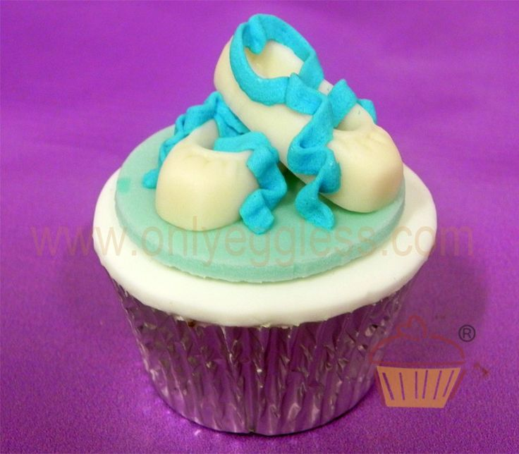 C1106 - Blue and White Ballet Shoes Cupcake - Premium Cupcakes - Egg Free Cupcakes from Only Eggless