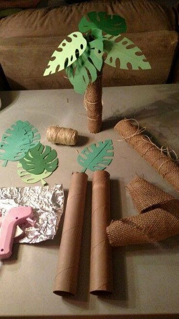I have toilet paper (not paper towel, as shown) rolls, scraps of burlap, and jute.    Would still need green paper and to bring scissors.  Have a glue gun, but probably bad idea for party.  I've seen leaf designs that would be easier to cut.