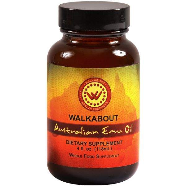 Walkabout Australian Emu Oil – 4 fl. oz. (118 mL) Liquid – Amber Glass Bottle