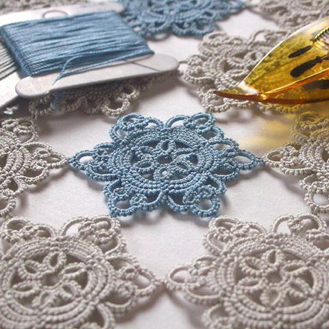 絹穴糸のモチーフ繋ぎ made:?(forget) pattern:やさしいタティングレース/雄鶏社P36 #tatting #tattinglace #タティング #タティングレース