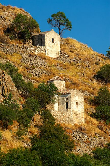 Byzantine chapels of the old Bronze Age hill village of Paliachora , Aegina , Greek Saronic Islands