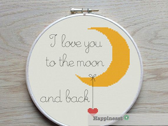 Modern cross stitch pattern I love you to the moon and back.  Buy 4 patterns and get 25% discount! Place 4 patterns in your cart and enter the code