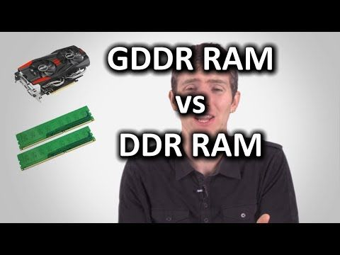 Liked on YouTube: DDR Memory vs GDDR Memory as Fast As Possible GDDR RAM (for graphics cards) and DDR RAM (for computers) are SIMILAR but also quite different from each other. This video explains the difference in just a few minutes!  Sponsor message: Give Shutterstock a try! Visit Shutterstock.com and get 25% off your account by using offer code TechQuickie214  Sponsor Link: http://shutterstock.com