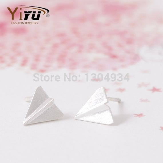 2017 New Fashion Origami Plane Charm Stud Earrings For Women Harry Styles One Direction Style Simple Elegant Cute Jewelry E054