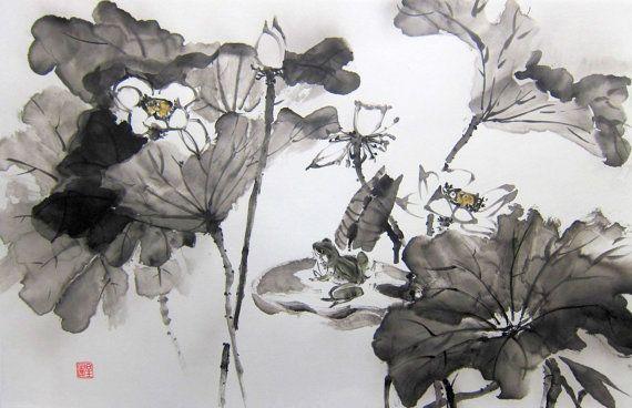 Lotus e rana, pittura giapponese di inchiostro, carta di riso dipinto, Sumi-e, Suibokuga, grande dipinto, nero e bianco, fiori,