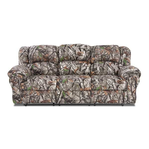 Sofa Sale This unique camouflage couch will bring the great outdoors right into your living room The Camo Reclining Sofa is fort u affordability in one