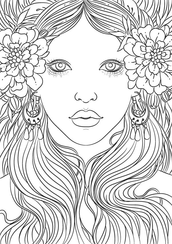 734 best images about Beautiful Women Coloring Pages for ...