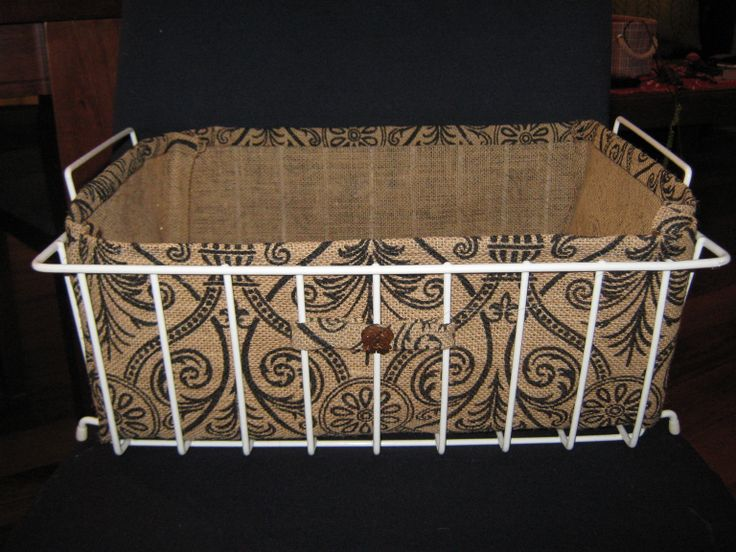 Burlap Liner wire basket with coconut elephant buttons from Thailand