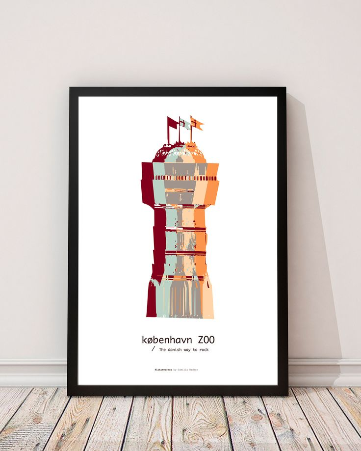 ZOO in COPENHAGEN   The danish way to rock / Posters - Serien 'The danish way to rock' er bygninger og monumenter fra det danske land. Tag med på turen rundt i Danmark. Serien er lavet helt fra bunden, startende med et fotografi og bearbejdet i Illustrator. Fin og kunsterisk, med flotte og klare farver.  Trykt på ubestrøget miljøvenligt papir. www.plakatwerket.dk