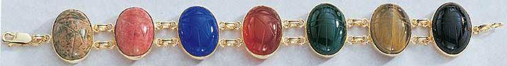 Large Scarab Bracelets - 14k Gold Genuine Stone Gold Double Link Scarab Bracelet 7 1/2``