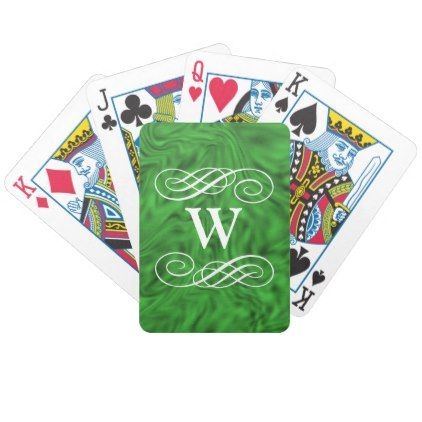 Monogram green abstract background personalize bicycle playing cards - monogram gifts unique design style monogrammed diy cyo customize