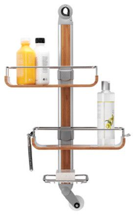 Bamboo Adjustable Shower Caddy contemporary shower caddies