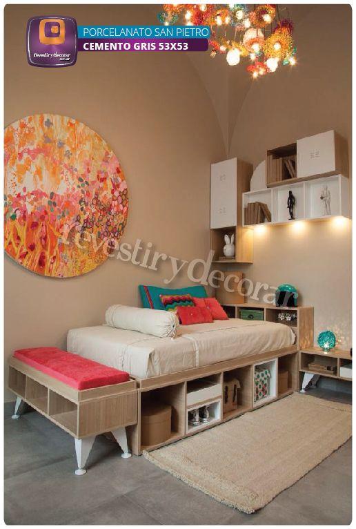 #Porcelanato #SimilCemento #Cemento #Dormitorio #Decoración