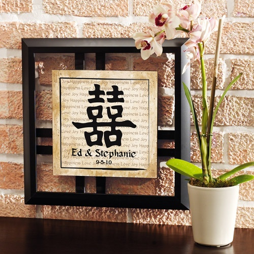 Personalized Chinese Double Happiness Symbol Framed Art