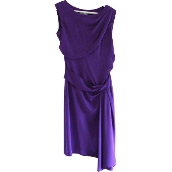 Pre-owned Diane Von Furstenberg Purple Silk Dress ($136) ❤ liked on Polyvore featuring dresses, purple, women clothing dresses, purple white dress, white cocktail dress, diane von furstenberg, petite cocktail dress and preowned dresses