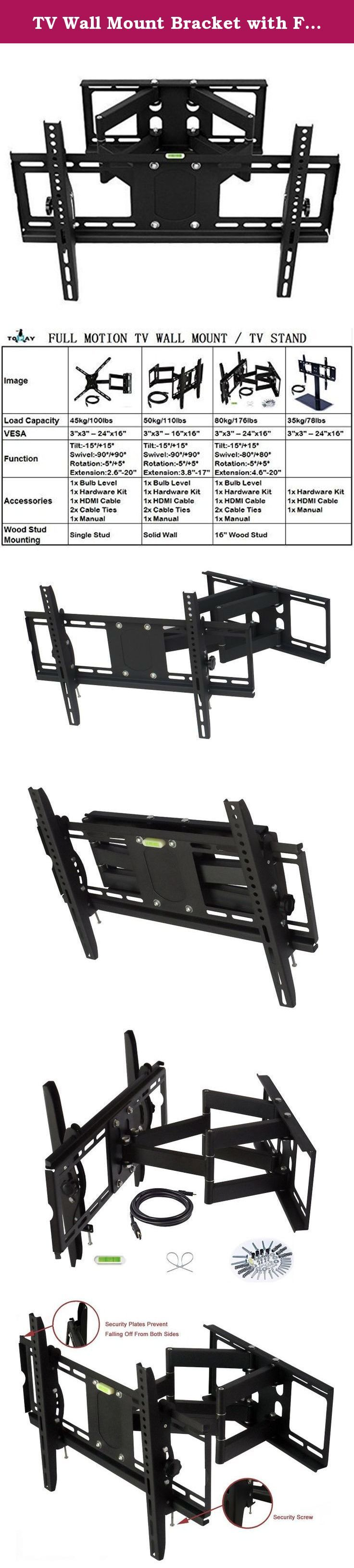 TV Wall Mount Bracket with Full Motion Dual Articulating Arm and Tilt, Swivel Adjustment for most of 32-75 Inches LED, LCD Plasma TVs. Before bidding the item, please check whether the TV Wall Mount is suitable for your TV. ★★★ Make sure the wall installed TV bracket is firmness and tightness, such as concrete wall, solid wood wall, do not install in hollow and floppy walls. ★★★ Please check the weight of your TV; it should be less than 176 lbs/80kg. ★★★ Look at the back of your TV, find…