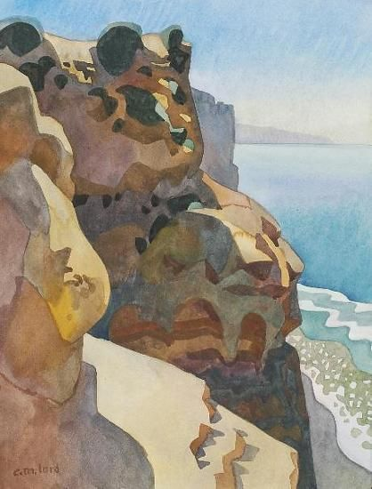 "Cliffside Beach Trail by Carolyn Lord Watercolor ~ 15"" x 11"""