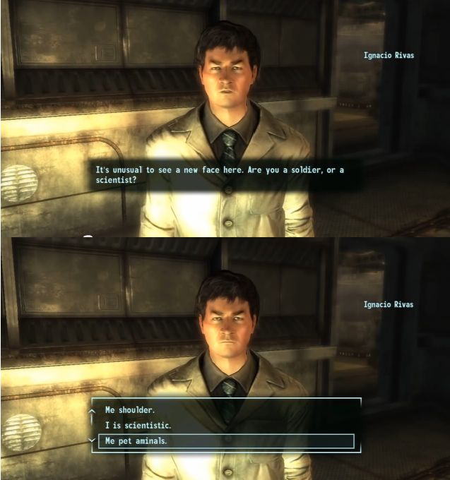 fallout with intelligence less than 3.