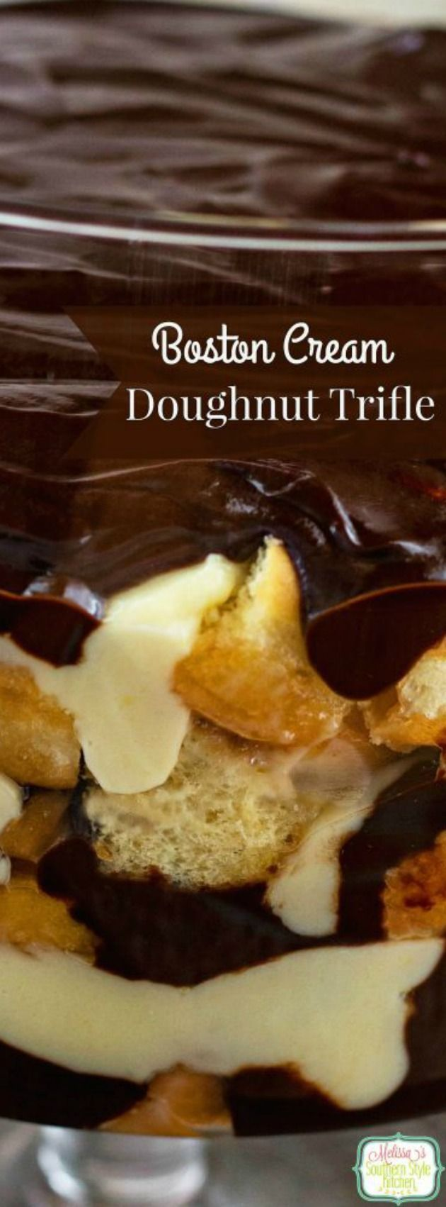 This Boston Cream Doughnut Trifle from Melissa's Southern Style Kitchen is so irresistible and delicious that everyone in your family will want to try it! Inspired by the Krispy Kreme chocolate glazed custard filled doughnut, this trifle has layers of fluffy glazed doughnuts, chocolate ganache, and a wonderful homemade vanilla custard.