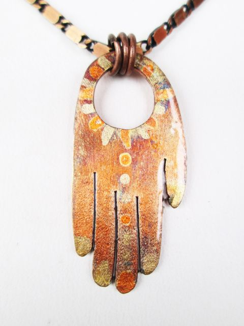 Hand of Fatima Pendant, Hamsa, Torched Copper necklace from The Tima Collection's 'True Magic' line of jewelry