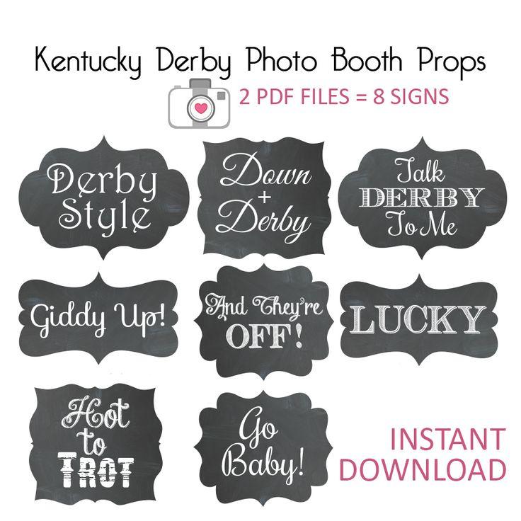 Kentucky Derby Party - Derby Bridal Shower - Photo Props - Chalkboard - https://www.etsy.com/shop/iDobyksoldo