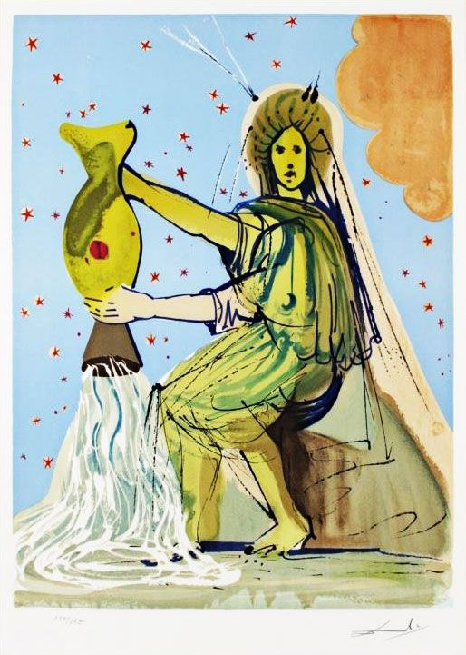 Salvador Dali - Les signes du zodiaque - Verseau. Les 12 signes du Zodiaque.