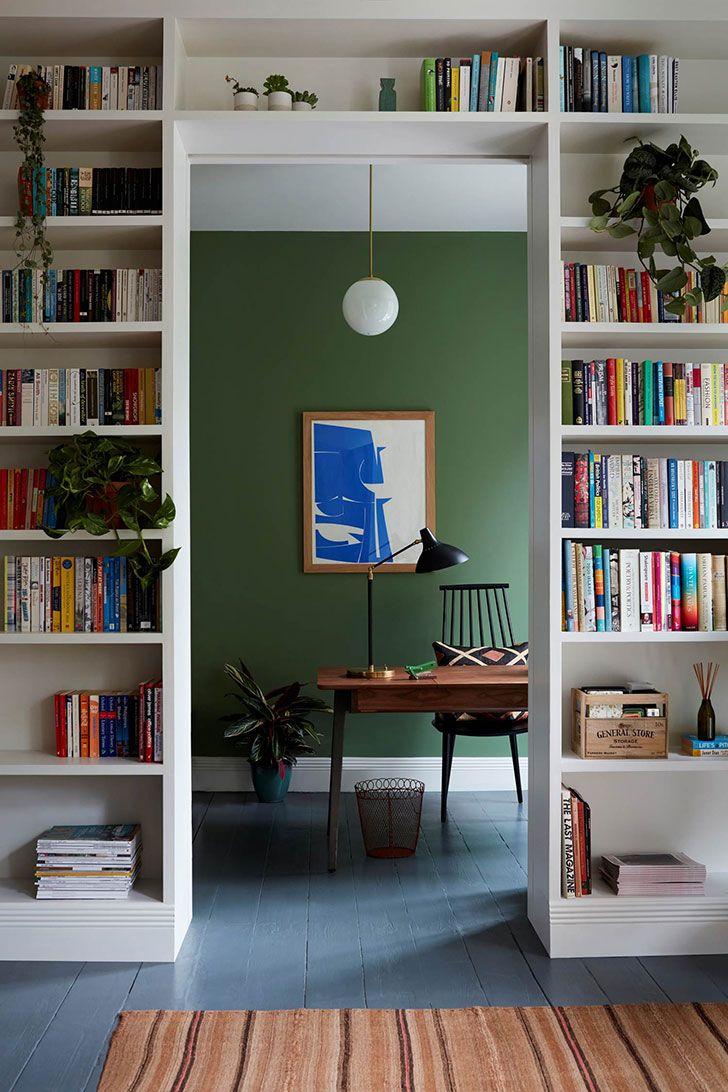Bright design by beata heumann interior design home decor idea inspiration house style color light cozy wall green library