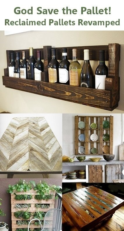 wall-mounted wine storage made from a pallet!