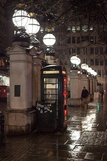 Evening rain in London, England