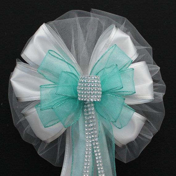 Aqua Bling Glitter and White Wire Edge Sparkle Wedding Pew Bows Church Aisle Decorations