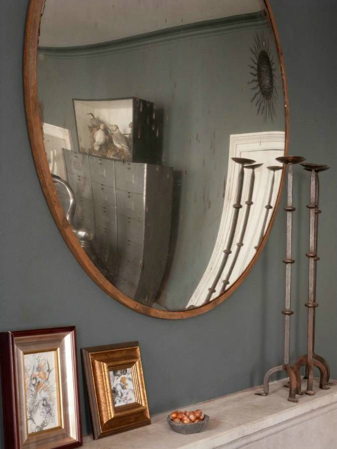 Industrial Convex Mirror Living Room Redo Pinterest