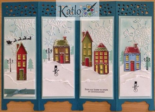 Holiday Home Stampin' Up! screen card, coloured with Blendabilities. Christmas card making ideas.