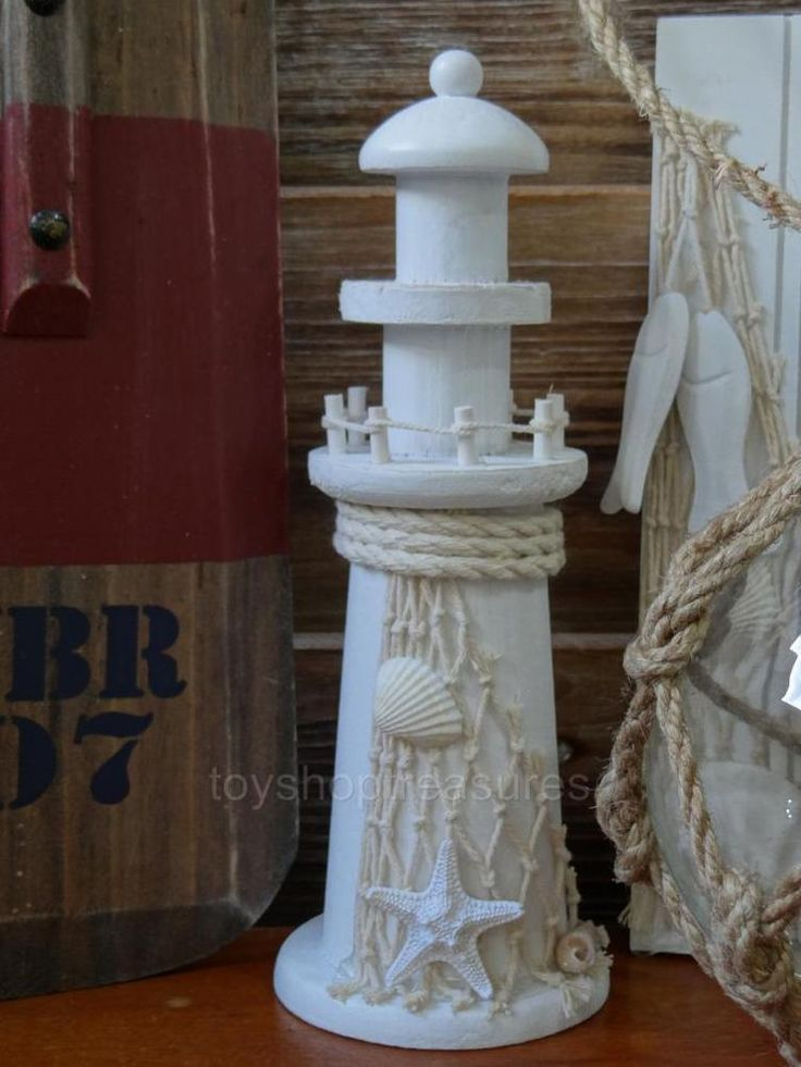 Nautical Beach Decor Wood LIGHTHOUSE with Fishing Net and Sea Shells - White