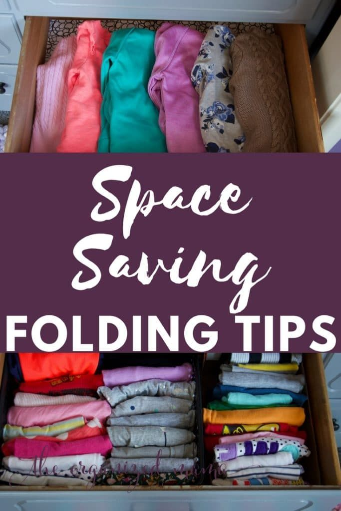 Follow these space saving folding tips to keep tons of space in your drawers. Learn how to file fold and KonMari fold clothes so you can find everything you need! Organizing ideas for the home   Organizing ideas for closets   Organizing tips for bedrooms closet   Organizing Dresser Drawers  #organization #konmari