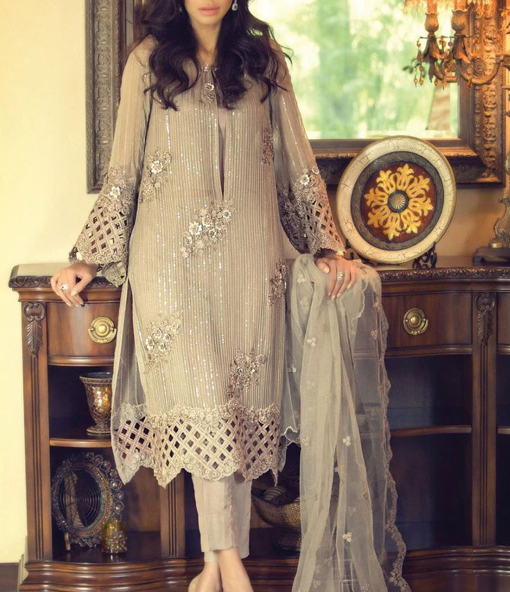Buy Dark Grey Embroidered Chiffon Dress by Maria B. 2015.