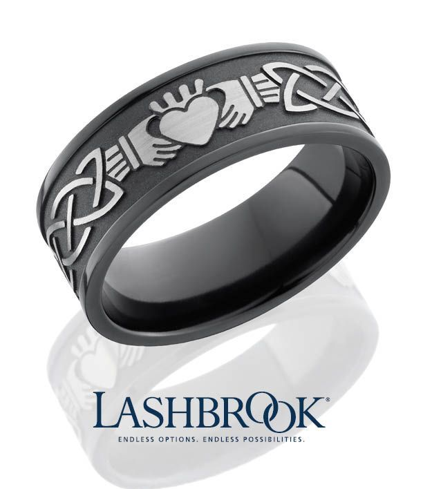 Mens Wedding Ring Claddagh Celtic Design In Zirconium