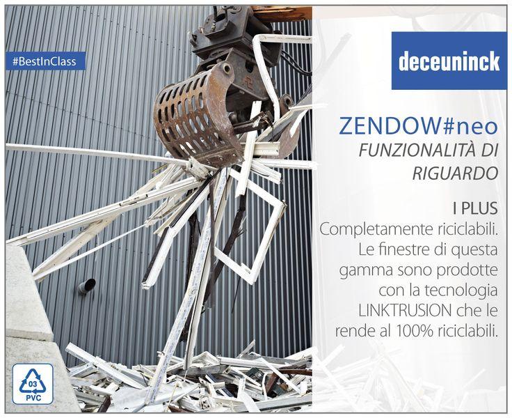I plus di Zendow#neo 3: Completamente riciclabili Le finestre prodotte con la tecnologia Linktrusion, come quelle della gamma Zendow#neo, sono al 100% riciclabili.   #plus #finestre #tecnologia #Linktrusion #riciclabile #ecologia #BestInClass #thermofibra
