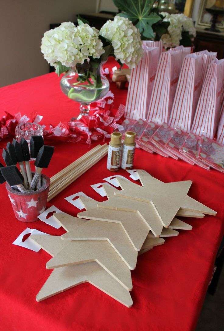 "Pin is=""Hollywood Walk of Fame"" star craft station..I think the wooden stars are FABULOUS, but maybe as INVITATIONS with Each kids Name in Vinyl on front, Party info on back (HTV, Vinyl or stenciled), INVITATION REQD FOR ENTRY, PICS WITH EACH KID AT THEIR STAR REVEAL & GROUP PHOTO WITH STARS"