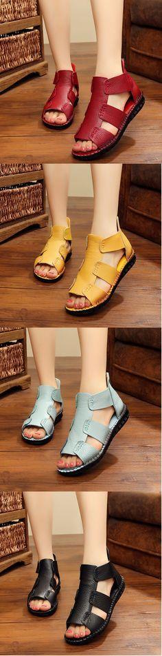 SOCOFY Genuine Leather Zipper Peep Toe Flat Sandals