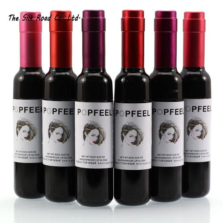 6 farben Weinflasche lippentönung matt flüssigen lippenstift lipgloss wasserdicht und langlebig schön lipgloss 6027