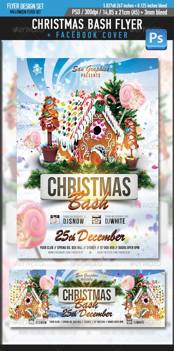 Xmas Christmas Bash Party Flyer Template  #GraphicRiver         Xmas Christmas Bash Party Flyer Template     • Simple and organized PSD files in Layers  • 300 DPI  • Easy to use  • CMYK  • Print Ready with Bleed Margins 0,117inches – 0.3cm  • Dimensions 5,827×8,267 inches / 14,8×21cm (A5 size) • Facebook cover template inlcuded     (Please don't forget to rate this item if you like it, thanks!)     PLEASE NOTE THAT DJ IMAGES ARE NOT INCLUDED!!!    Fonts Used:  Brush Script MT   .myfonts…
