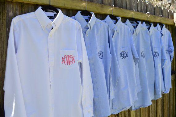 SET OF 9 Bridesmaid Wedding Shirt - Monogrammed Oxford Shirts - Bridesmaid, Cheerleading or Sorority Oxford Shirts